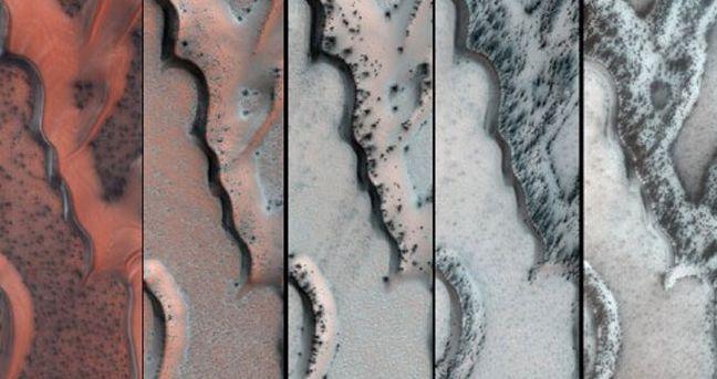 FOTO: Písečná duna ze suchého ledu na Marsu