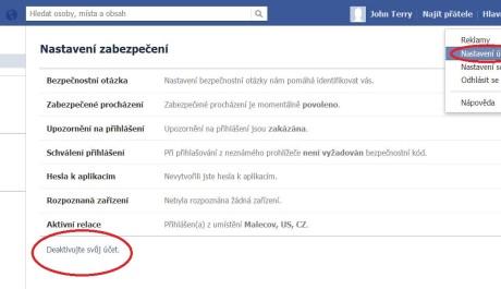 FOTO: Deaktivace účtu FB 1