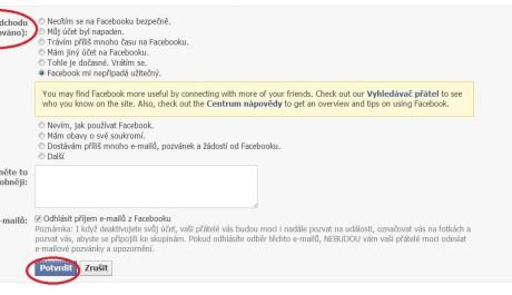 FOTO: Deaktivace účtu FB 2