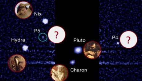 Pluto a jeho měsíce. Zdroj: SETI.org