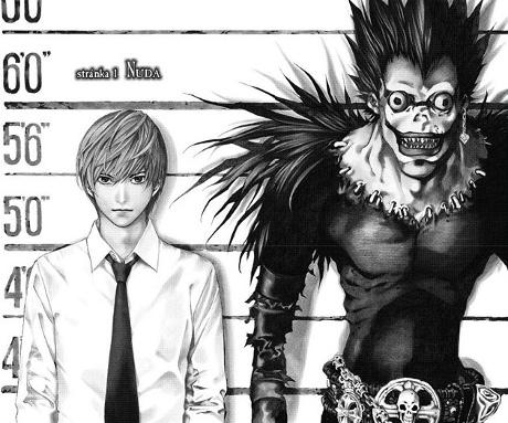 Ukázka z výřezu komiksu, autorem je Takeši Obata.