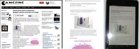 Srovnání stejného článku zleva: neuložený článek v prohlížeči, článek uložený aplikací Pocket, zobrazení na tabletu s androidem. Zdroj: vlastní