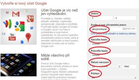 FOTO: Jak vytvořit Google účet 1
