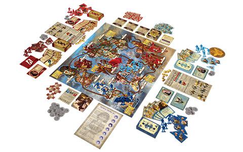 Hra obsahuje spoustu karet s původními obrázky, detailní hrací plochu a několik propracovaných hracích figurek. Zdroj: oficiální stránky hry