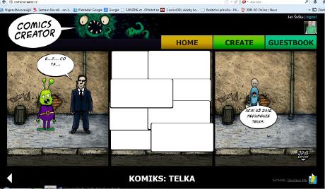Ukázka z aplikace Comics Creator. Vaše dílka vám mohou ostatní uživatelé ohodnotit.