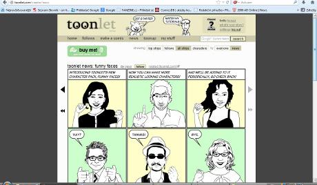 Ukázka z aplikace Toonlet. Tvořit v nich můžete vlastní postavu, ale pouze černobíle.