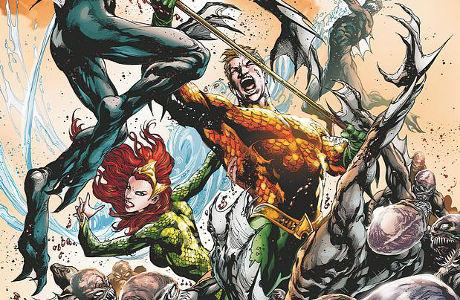 Aquaman po boku své ženy Mery zobrazen v nemilosrdné bitvě.