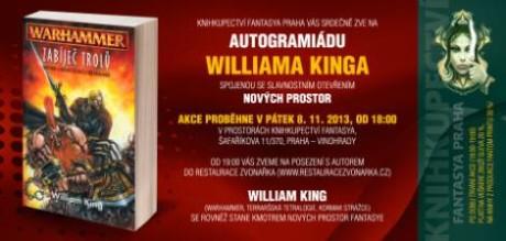 Pozvánka na autogramiádu Williama Kinga.