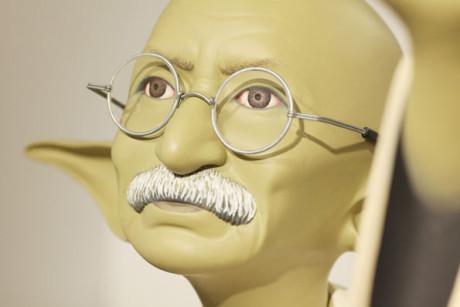 Mahatma Ghandi jako Yoda. Zdroj: http://jonathanlevinegallery.com/
