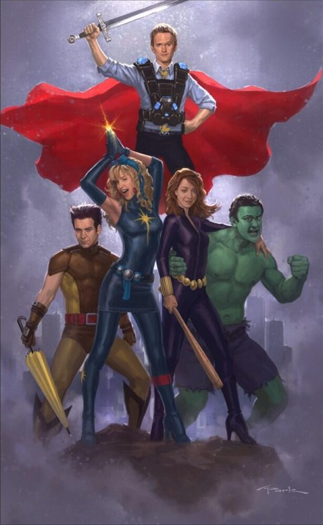 Hrdinové ze seriálu HIMYM, jako postavy z Marvelu. Zdroj: www.facebook.com/AndyParkArt