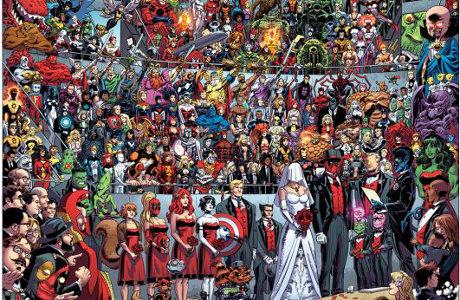 Na obrázku od Scotta Coblishe můžeme najít třeba Hulka, Wolverina, Kapitána Ameriku nebo Spider-Mana. Zdroj: Marvel Comics