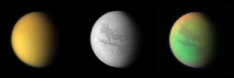 Různé osvětlení působící zajímavé efekty v atmosféře Titanu. Zdroj: Nasa.gov