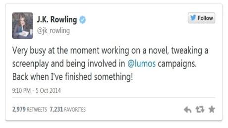 FOTO: Příspěvek Rowlingové