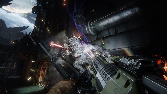 V Evolve proti sobě stojí lovci vybavení futuristickými gadgety a obrovská monstra. Zdroj:  evolvegame.com