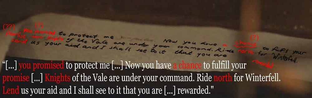 Dopis Sansy Stark ze Hry o trůny odhalen